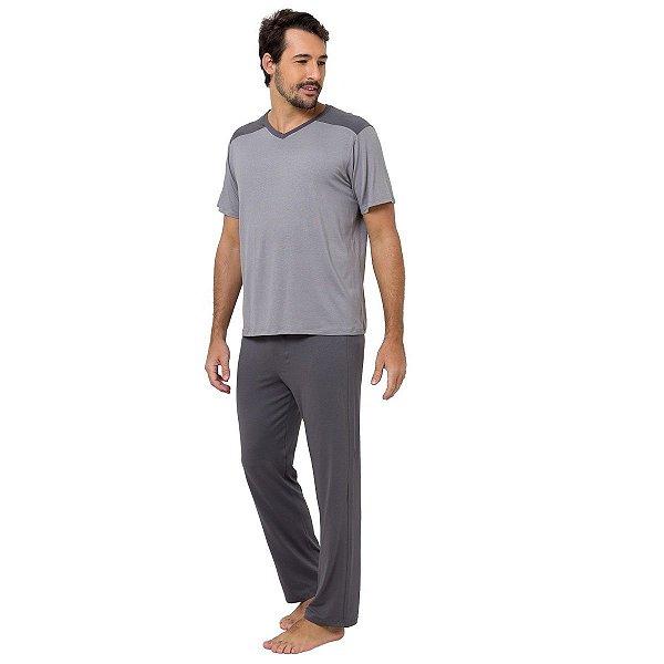 Pijama Masculino Longo Cinza Chumbo
