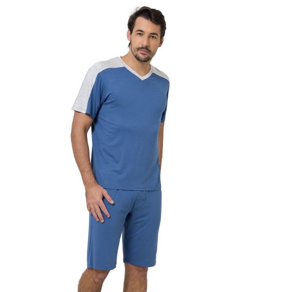 Pijama Masculino Curto Azul Aereo