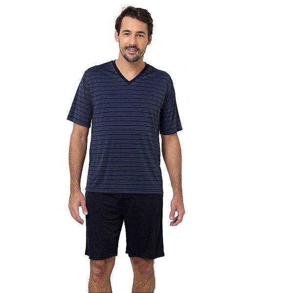 Pijama Masculino Curto Preto com Listras