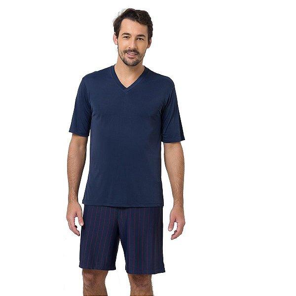 Pijama Masculino Curto Marinho com Listras