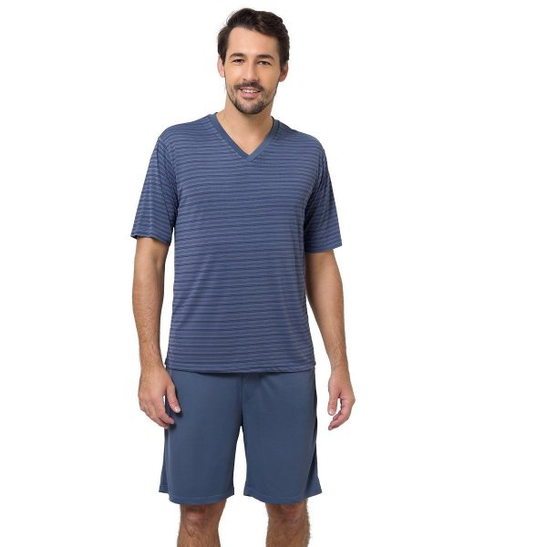 Pijama Masculino Curto Listrado Denin e Preto