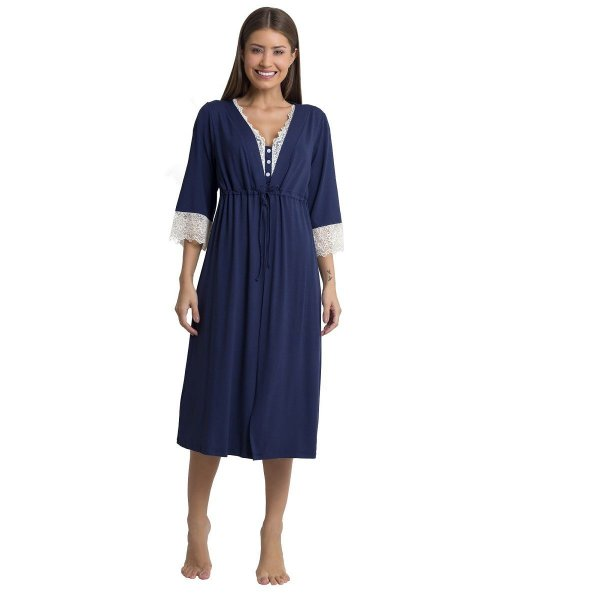 Robe Feminino Midi Azul Marinho com Renda