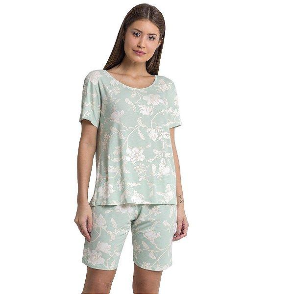 Pijama Bermudol Feminino Mint Flower