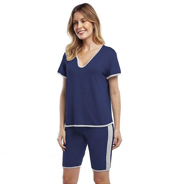 Pijama Bermudol Feminino Azul Marinho