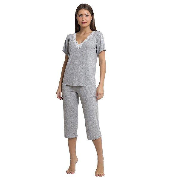 Pijama Feminino Capri Mescla com Renda