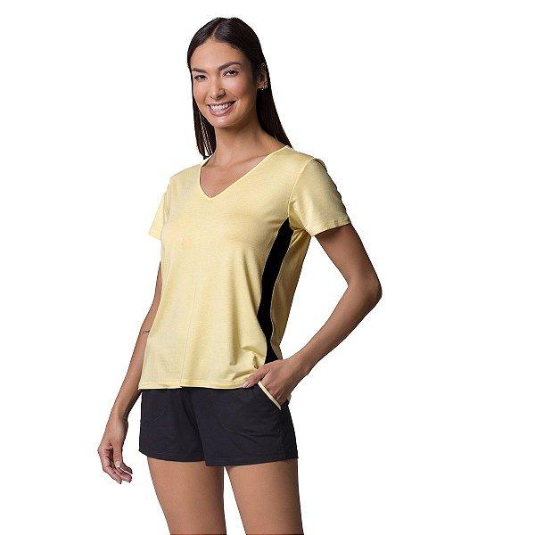 Short Doll Bicolor Amarelo e Preto com Bolso