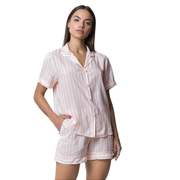 Pijama Feminino Curto Aberto Listrado Rosê Refresh