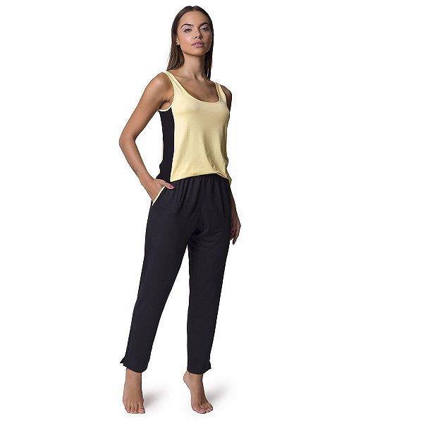 Pijama Feminino Regata com Bolso Preto e Amarelo