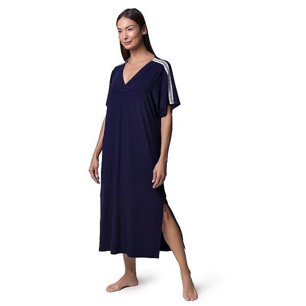 Camisão Feminino Midi Azul Marinho com Fenda