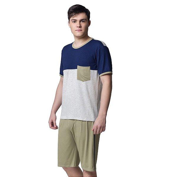 Pijama Masculino Curto Tricolor