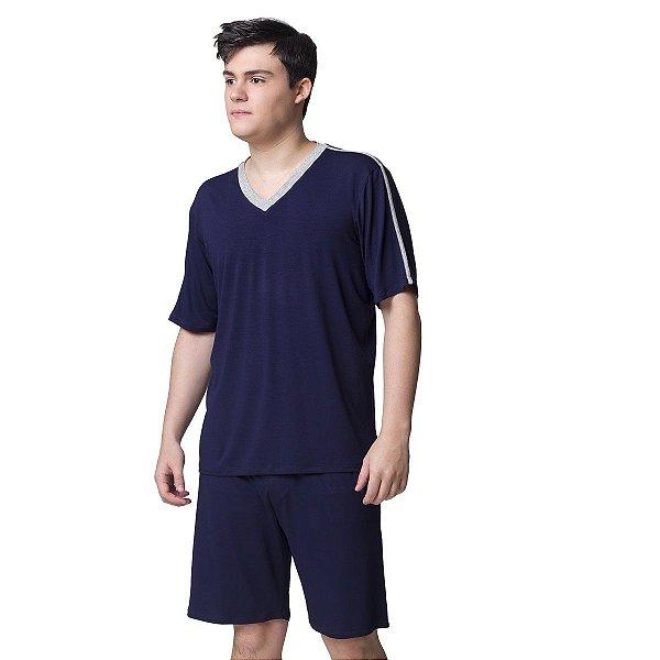 Pijama Masculino Curto Azul Marinho e Cinza