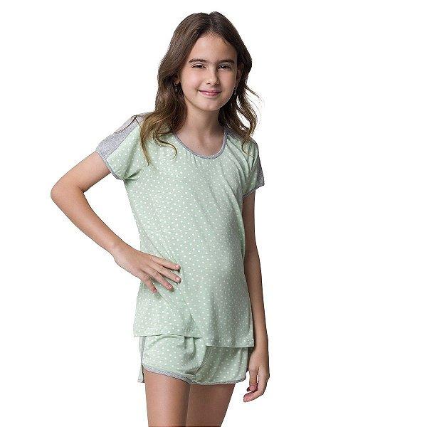 Short Doll Feminino Infantil Verde Mini Dots