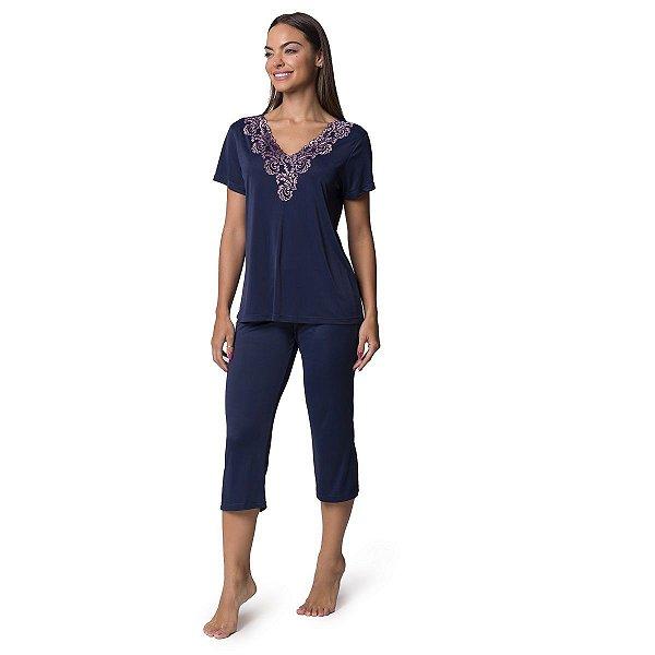 Pijama Feminino Capri Azul Marinho com Renda Rosê