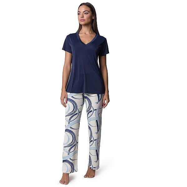 Pijama Feminino com Manga Curta Azul Caleidoscópio