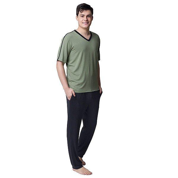 Pijama Masculino Longo Preto e Verde com Bolso