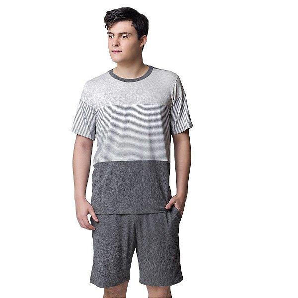 Pijama Masculino Curto Mescla Listradinho