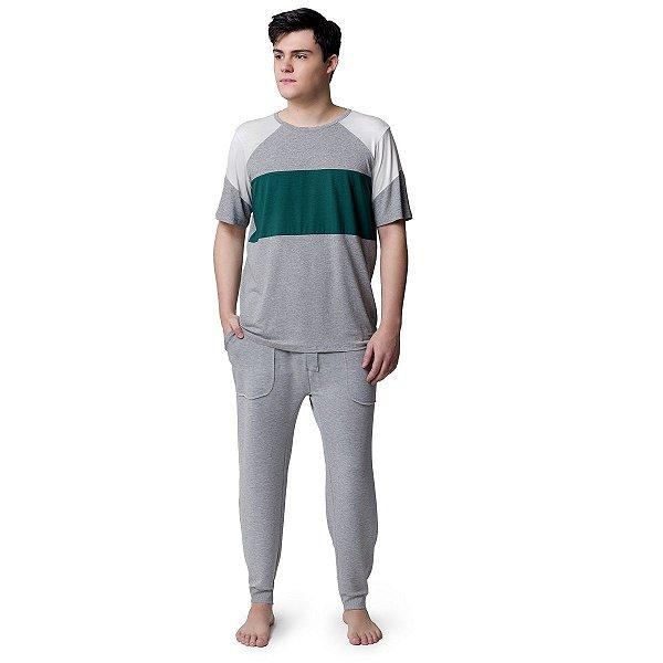 Pijama Masculino Longo Mescla e Verde Tree
