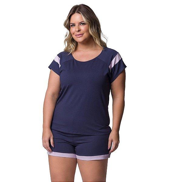 Pijama Feminino Curto Plus Size Marinho e Lilás