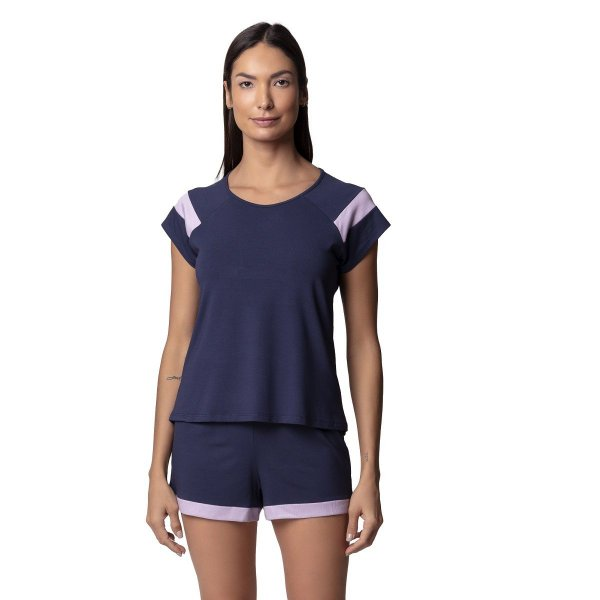 Pijama Feminino Curto Marinho e Lilás