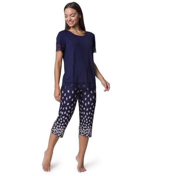 Pijama Feminino Capri Azul Folhas