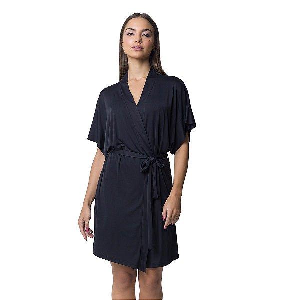 Robe Feminino Curto de Poliamida Preto