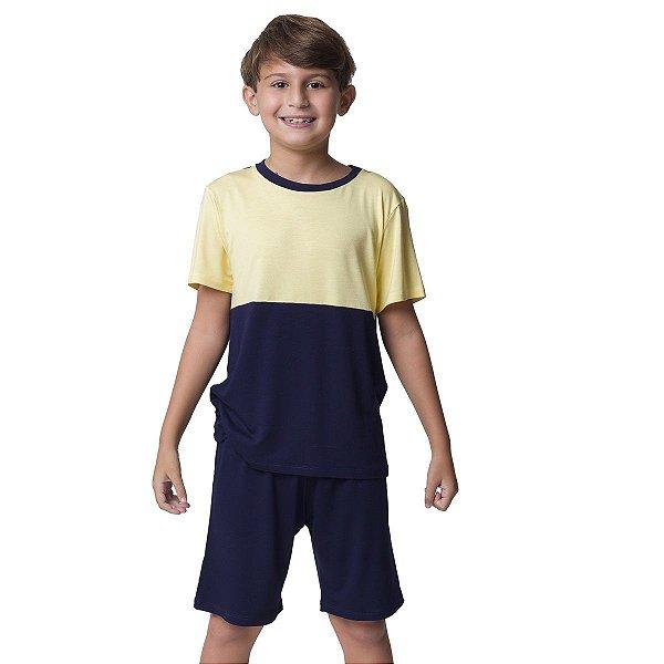 Pijama Masculino Infantil Curto Marinho e Amarelo