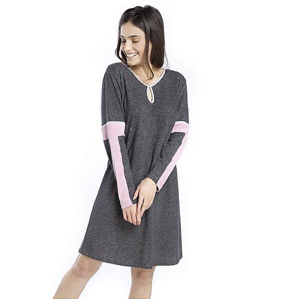 Camisão Feminino de Inverno Mescla com Plush Rosa