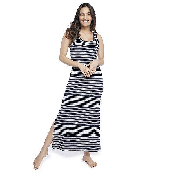 Camisola Regata Longuete com Fenda Stripe Navy