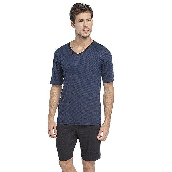 Pijama Masculino Curto com Blusa Azul Marinho Stripe Black