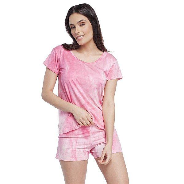 Pijama Feminino Curto de Manga Curta Tie Dye Rosa