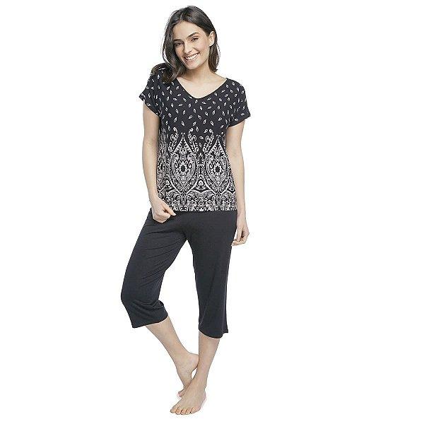 Pijama Feminino Capri Preto Paisley
