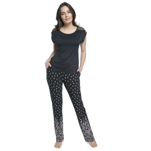 Pijama Feminino de Manga Curta Preto Paisley com Renda