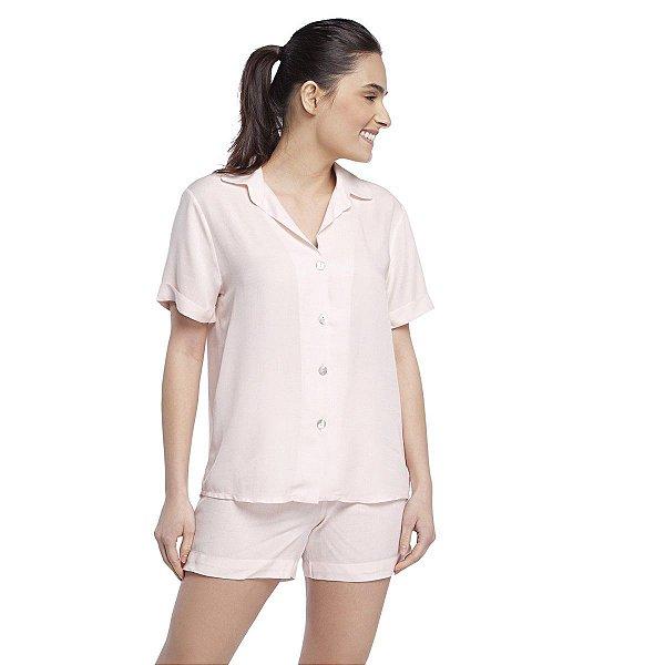 Pijama Feminino Curto Aberto com Gola Esporte Rosê Claro