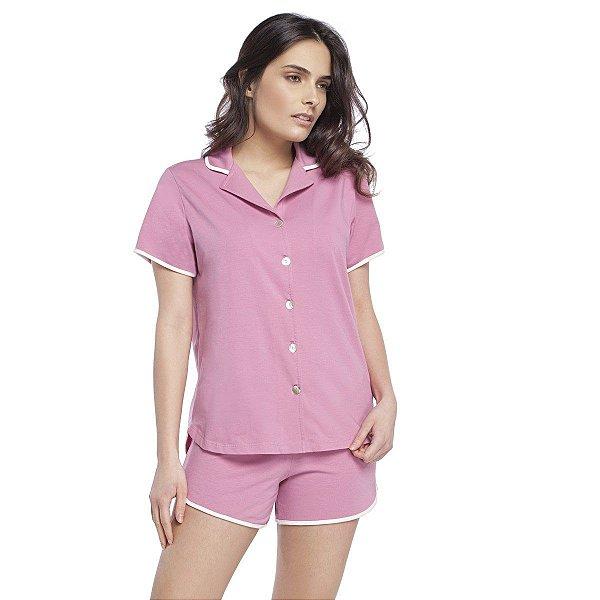 Pijama Curto Aberto Gola Esporte Rosa Blush