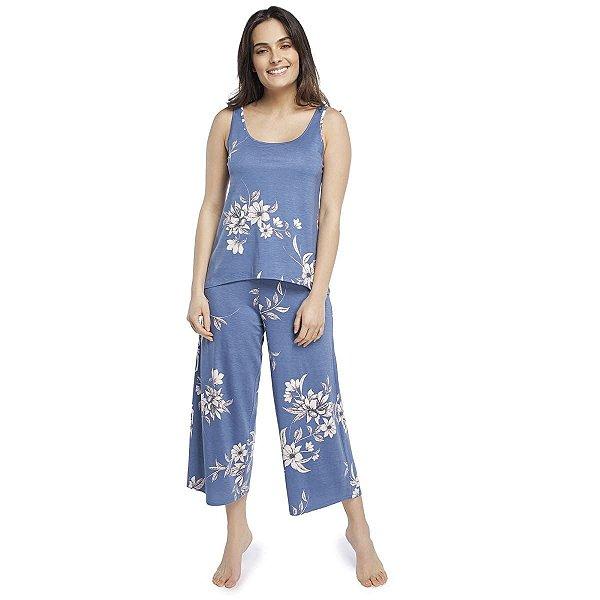 Pijama Feminino Pantacourt Regata Azul Max Garden