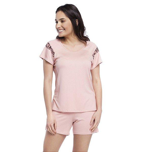 Pijama Feminino Curto Rosê com Animal Print