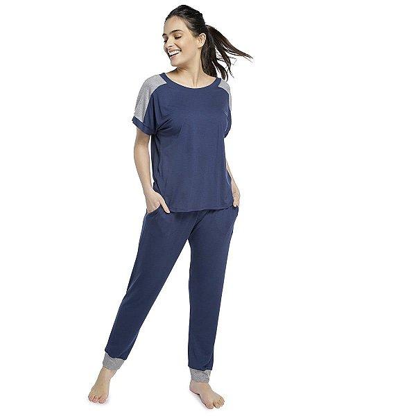 Pijama Feminino com Bolso Azul Intenso com Canelado Mescla