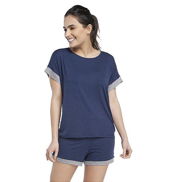 Pijama Feminino Curto Azul Intenso com Canelado Mescla