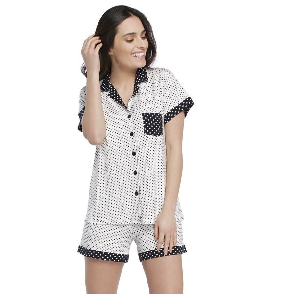 Pijama Feminino Curto Aberto com Gola Esporte Poá Off White