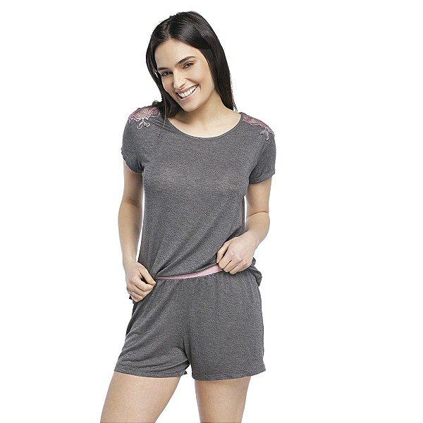 Pijama Feminino Curto Mescla Escuro com Renda Rosa
