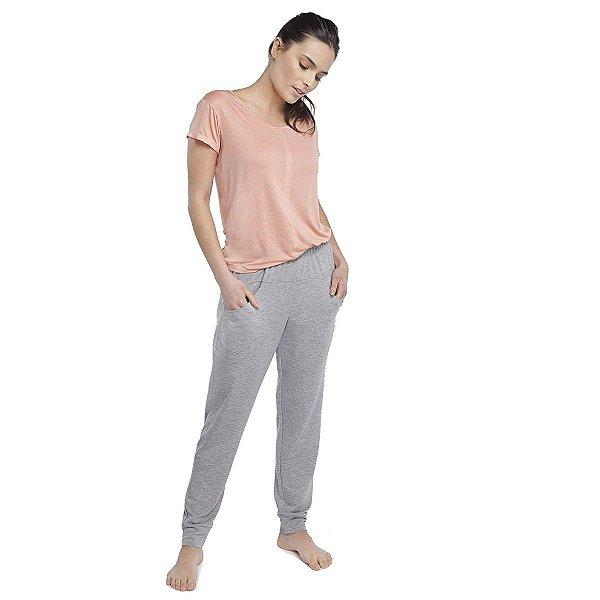 Pijama Feminino com Bolso Rosê e Mescla