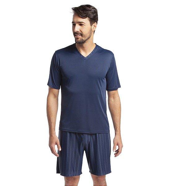 Pijama Masculino Curto Listrado Azul Marinho