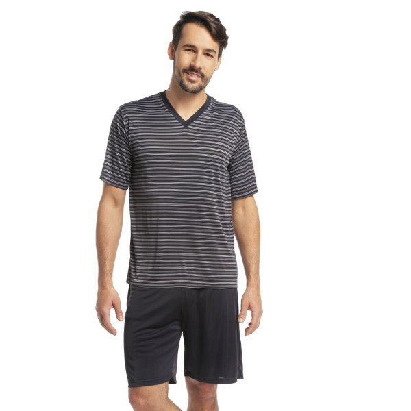 Pijama Masculino Curto Listrado Preto