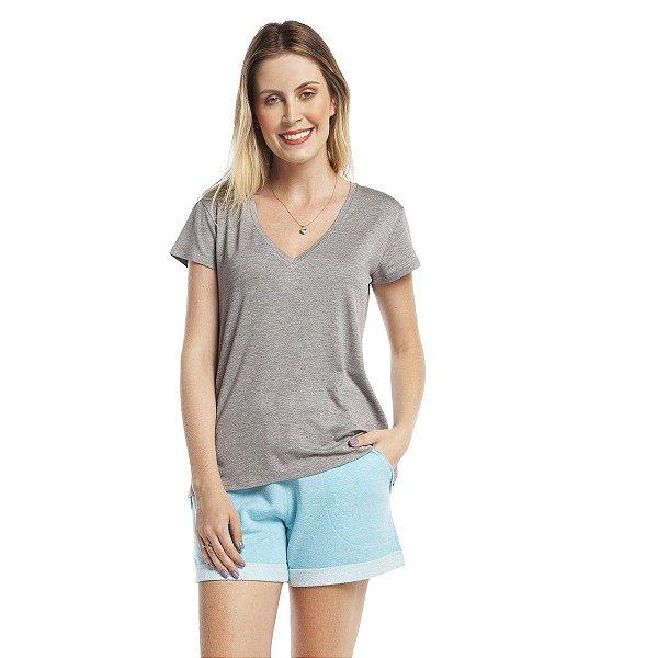 Pijama Feminino Curto Atoalhado com Bolso Turquesa