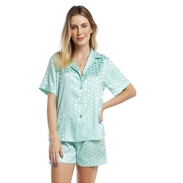 Pijama Feminino Curto Aberto Satin Jacquard Poá Acqua