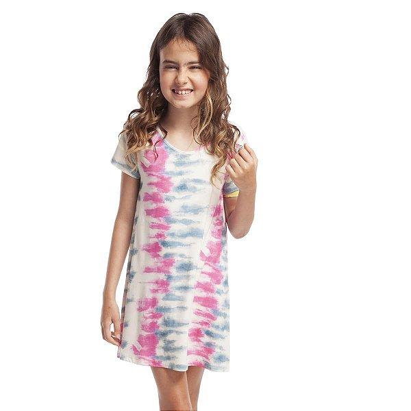 Camisão Infantil Feminino Curto Tie Dye Stripe