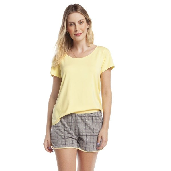 Pijama Feminino Curto Amarelo Confete