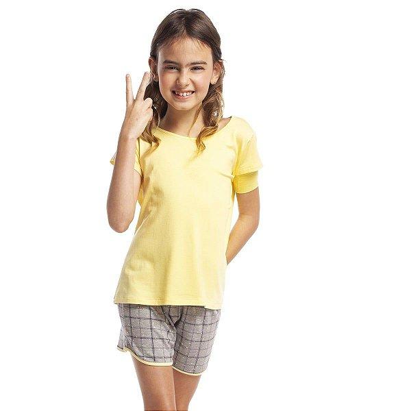 Pijama Infantil Feminino Curto Amarelo Confete