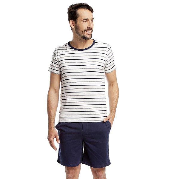 Pijama Masculino Curto Listra Azul Marinho