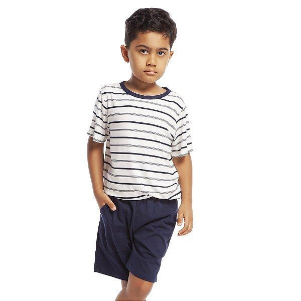 Pijama Infantil Masculino Curto Listra Azul Marinho